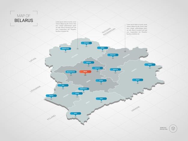 Mappa isometrica della bielorussia. illustrazione stilizzata della mappa con città, confini, capitale, divisioni amministrative e indicatori di direzione; sfondo sfumato con griglia.