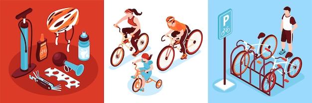 Composizioni quadrate per biciclette isometriche di ciclisti con parcheggio e ingranaggi da ciclismo