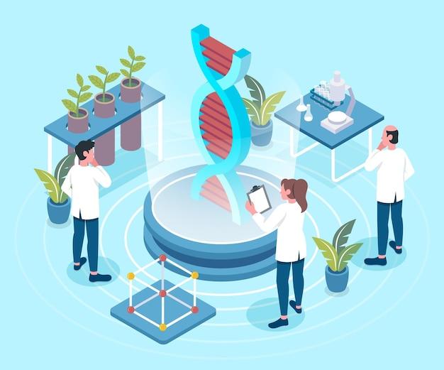 Concetto di biotecnologia isometrica illustrato