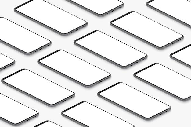 Smartphone realistici neri isometrici con griglia di schermi bianchi vuoti