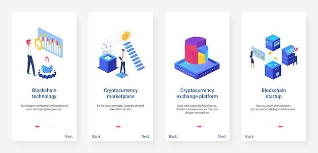 Set di schermate della pagina dell'app mobile per l'onboarding di ux di avvio isometrico di criptovaluta blockchain