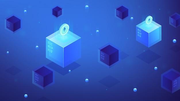 Concetto isometrico di criptovaluta di etere di blockchain.
