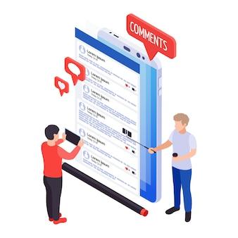 Icona di blog isometrica con commenti ai post sullo schermo dello smartphone 3d