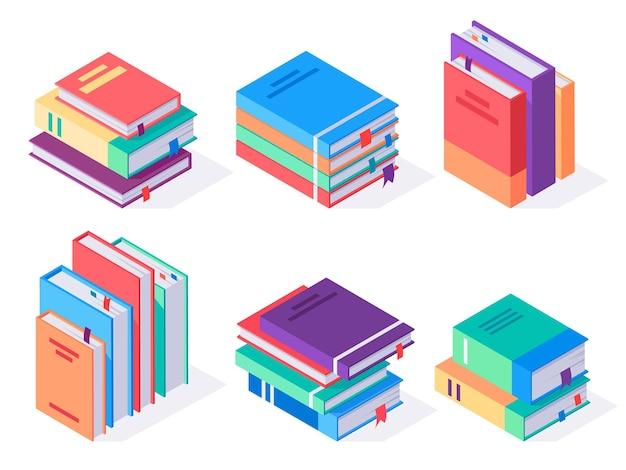 Libri isometrici pila illustrazione isometrica isolati su sfondo bianco
