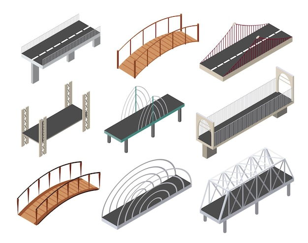 Set di icone di ponti isometrici. elementi di disegno isolati 3d di una moderna infrastruttura urbana per giochi o applicazioni.