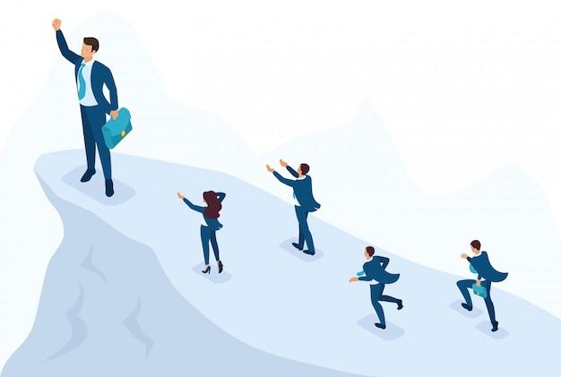 Concetto di sito luminoso isometrico grande uomo d'affari nella parte superiore simboleggia la leadership e il successo, la gente lo segue. concetto per il web design