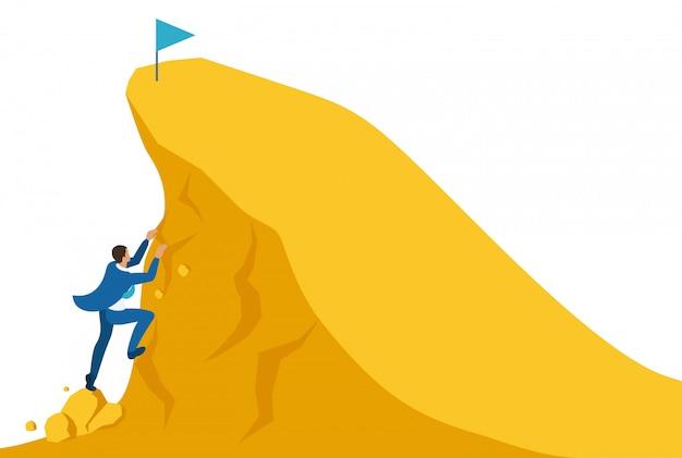 Concetto di sito luminoso isometrico costruisci una carriera, l'uomo d'affari si arrampica sulla grande montagna d'oro, ha successo. concetto per il web design