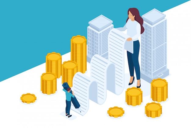 Concetto di sito isometrico luminoso registrazione ed emissione di denaro garantiti da beni immobili, mutuo ipotecario. concetto per il web design