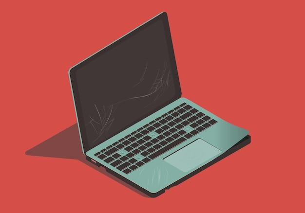 Illustrazione isometrica del computer portatile rotto