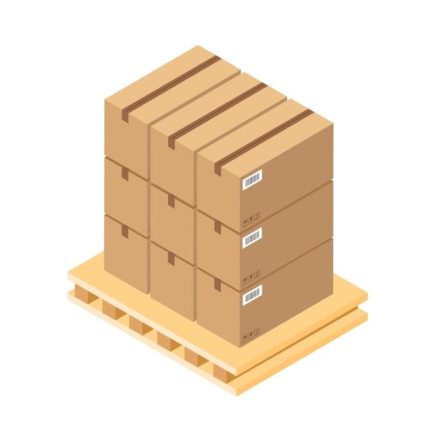 Scatole di cartone marroni isometriche su pallet di legno. scatola di parti di magazzino su vassoio di legno. scatola di carico isolata