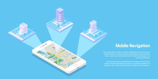 Edifici isometrici e strade con smart phone