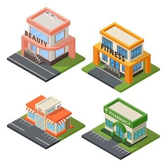 Set di edifici isometrici.