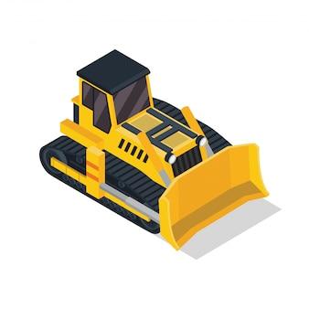 Isometric bulldozer construction vehicle