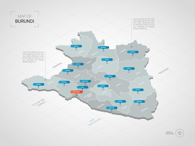 Mappa isometrica del burundi. illustrazione stilizzata della mappa con città, confini, capitale, divisioni amministrative e indicatori di direzione; sfondo sfumato con griglia.