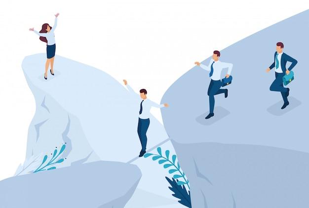 Concetto di business isometrico, partecipare a concorsi aziendali.