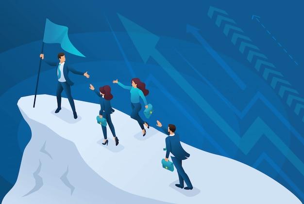 Concetto di business isometrico, un leader di successo conduce la sua squadra al successo.