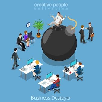 Il distruttore isometrico di affari distrugge il concetto piano dell'illustrazione di isometria 3d dell'uomo d'affari