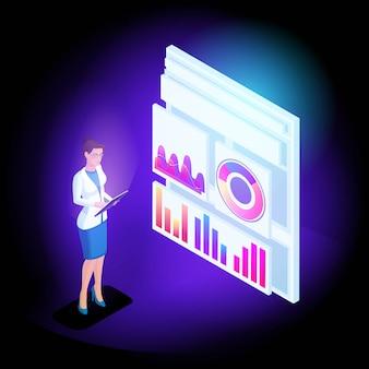 La ragazza isometrica di affari online scansiona report e analisi sulla base di diagrammi e grafici. applicazione mobile per lavorare sul tablet