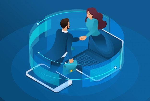 Business isometrico, collaborazione online globale tra grandi aziende.