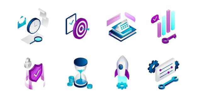 Icone isometriche di affari messe isolate su bianco