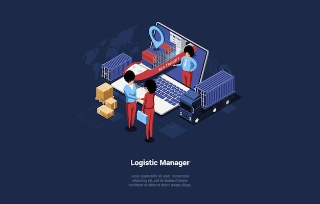 Illustrazione isometrica di affari dei caratteri del manager logistico che agitano le mani vicino al computer portatile