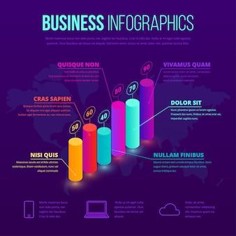 Modello di business isometrico infografica. icona di grafico percentuale sfumatura al neon 3d