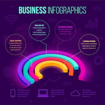 Modello di business isometrico infografica. icona di grafico a torta sfumatura al neon 3d, concept creativo per layout di documenti, rapporti, presentazioni, infografica, web design, applicazioni. illustrazione