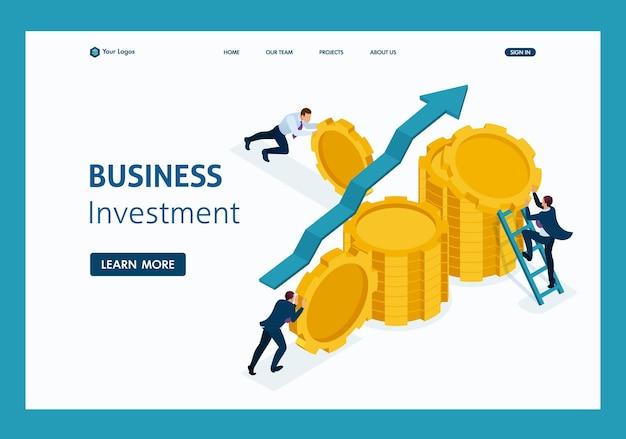 Investimento aziendale isometrico nello sviluppo del business, gli imprenditori costruiscono risparmi. pagina di destinazione del modello di sito web.