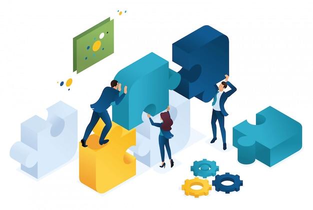 Progetto congiunto isometrico di affari di una grande squadra, lavoro di squadra, brainstorming.