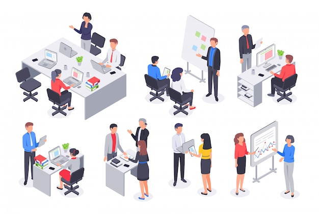 Squadra isometrica ufficio affari. la riunione corporativa di lavoro di squadra, il posto di lavoro degli impiegati e la gente lavorano l'insieme dell'illustrazione di vettore 3d