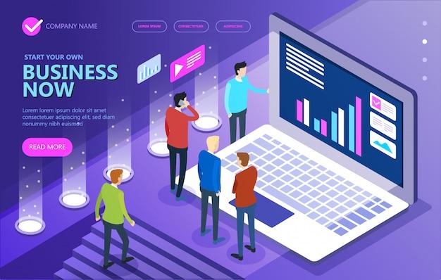 Uomini d'affari isometrici che lavorano insieme e sviluppano una strategia aziendale di successo.