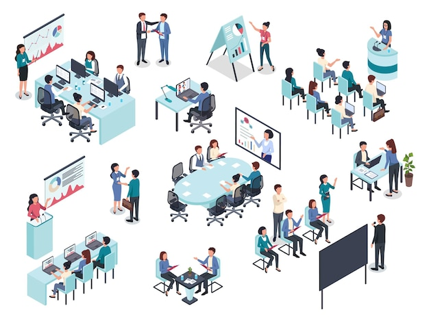 Insieme di vettore di riunione di conferenza dell'ufficio di coaching di formazione aziendale isometrica