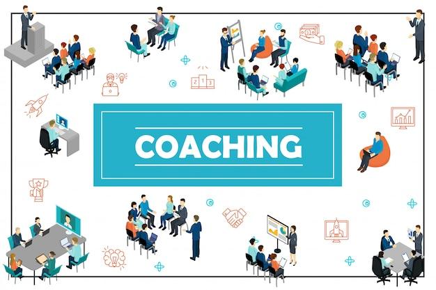Composizione di formazione aziendale isometrica con personale della conferenza online di discorso pubblico che guida seminario di brainstorming di consultazione di presentazione