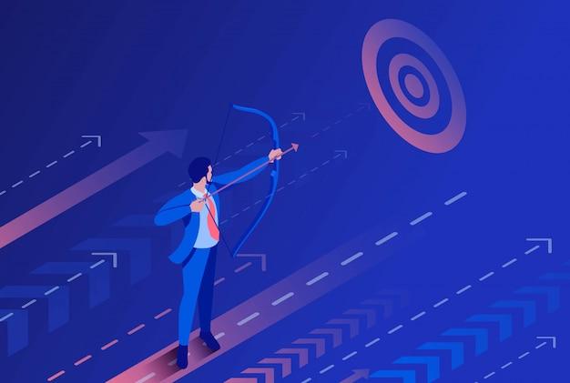 Uomo d'affari isometrico che punta sull'obiettivo, concetto di affari.