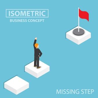 Uomo d'affari isometrico che affronta il passo mancante al successo