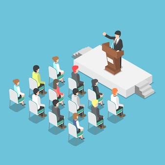 Uomo d'affari isometrico che parla ad un podio in una conferenza