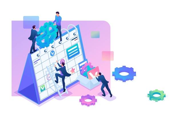 Gli uomini d'affari isometrici fanno un business plan per il prossimo mese. concetto per il web design.