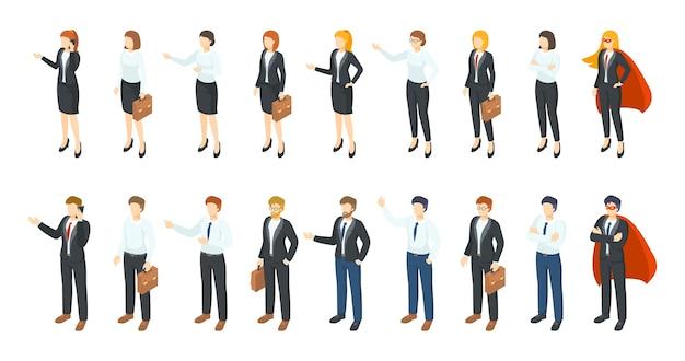 Uomini d'affari isometrici. personaggi 3d di impiegato di ufficio, diversi uomini e donne in piedi seduti e comunicanti. set di illustrazione di lavoratori professionisti