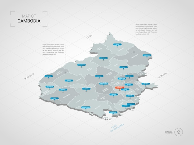 Mappa isometrica della cambogia. illustrazione stilizzata della mappa con città, confini, capitale, divisioni amministrative e indicatori di direzione; sfondo sfumato con griglia. Vettore Premium
