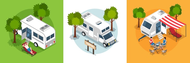 Illustrazione stabilita di viaggio isometrico del camper