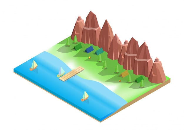 Isometrica del campeggio sulla spiaggia