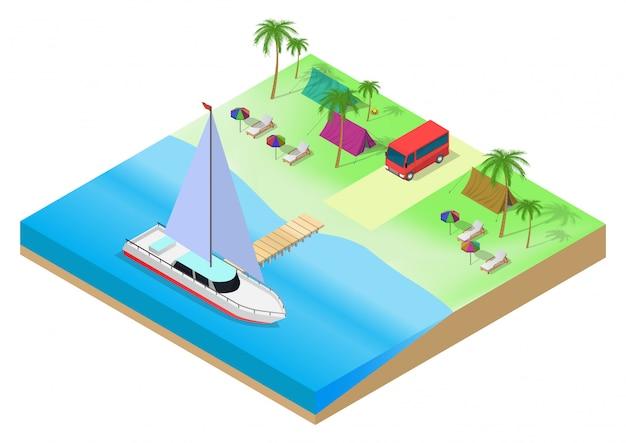 Isometrica del campeggio sulla spiaggia tropicale