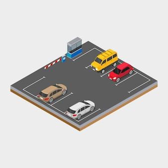 Automobile isometrica nell'illustrazione di concetto di progetto dell'area di parcheggio