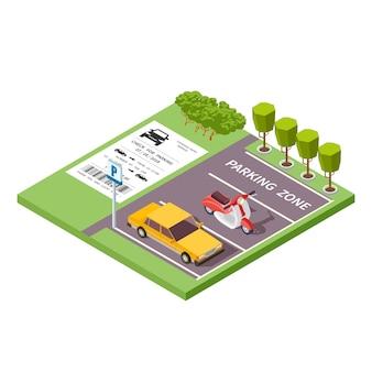 Illustrazione isometrica 3d di vettore di zona di parcheggio dell'automobile