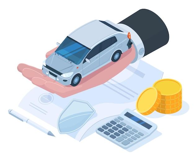 Assicurazione di protezione auto isometrica, concetto di garanzia di denaro. protezione dai rischi dell'assicurazione auto, illustrazione vettoriale del servizio di assicurazione auto. polizza assicurativa di proprietà