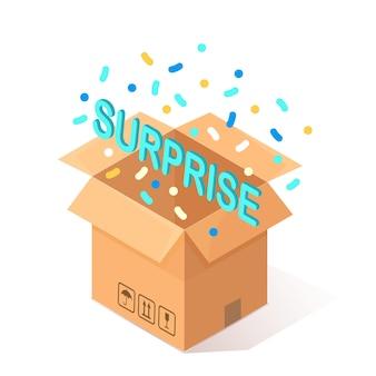 Cartone isometrico, scatola di cartone con sorpresa, coriandoli. regalo aperto, contenitore. pacchetto festivo su sfondo bianco.