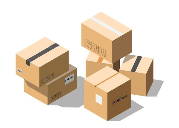 Scatole di pacchi di cartone isometriche isolate su priorità bassa bianca.