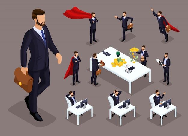 Cartoon isometrica persone, uomini d'affari e supermen in diverse situazioni, grande uomo e mini concetto con il personale dell'ufficio per le illustrazioni