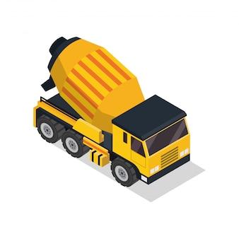 Veicolo di costruzione isometrica del camion del miscelatore di cemento