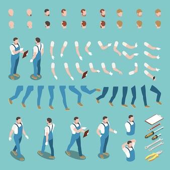 Costruttore di personaggi isometrici con parti del corpo, uniforme e strumenti isolati su blu